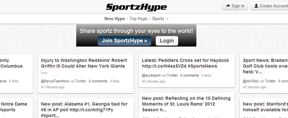 sportzhype - startup featured on StartUpLift for startup feedback and website feedback