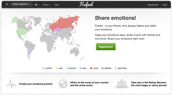 Fixfeel - emotional world map - startup featured on startuplift for website feedback & startup feedback.